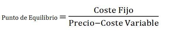 Fórmula Punto de Equilibrio